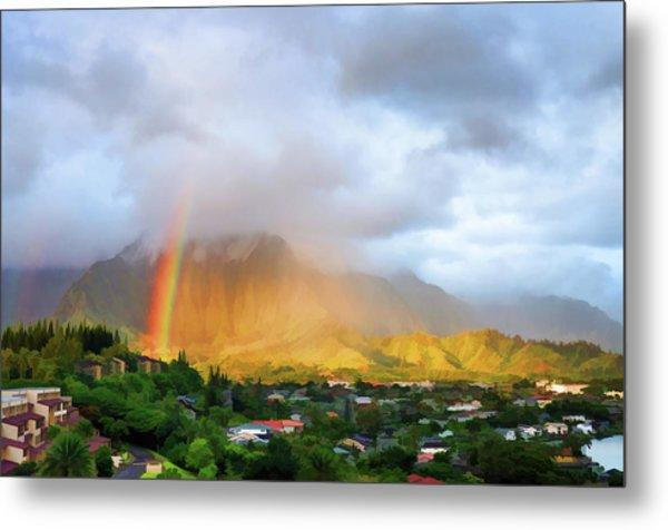 Puu Alii With Rainbow Metal Print