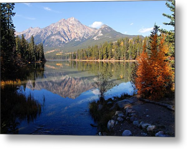 Pyramid Moutain Reflection Metal Print