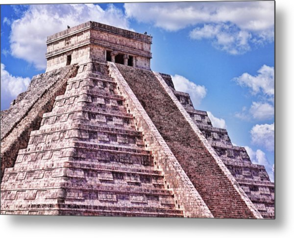 Pyramid Of Kukulcan At Chichen Itza Metal Print