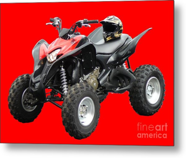 Quad Bike And Helmet Metal Print