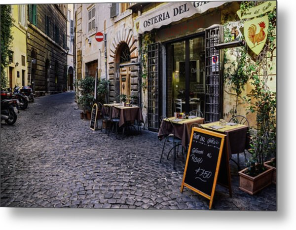 Quaint Cobblestones Streets In Rome, Italy Metal Print