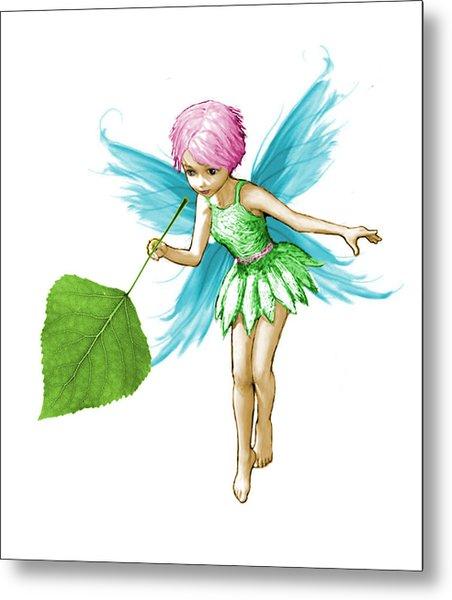 Quaking Aspen Tree Fairy Holding Leaf Metal Print