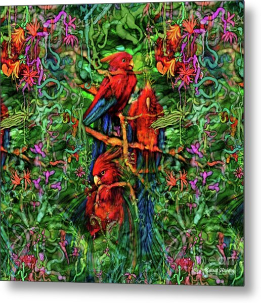 Metal Print featuring the digital art Qualia's Parrots by Russell Kightley