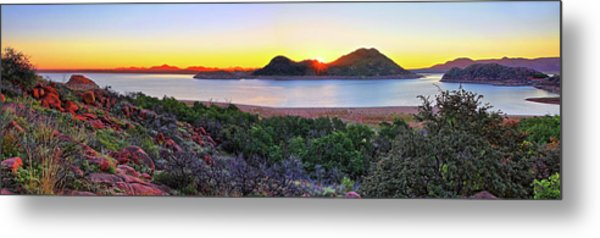 Quartz Mountains And Lake Altus Panorama - Oklahoma Metal Print