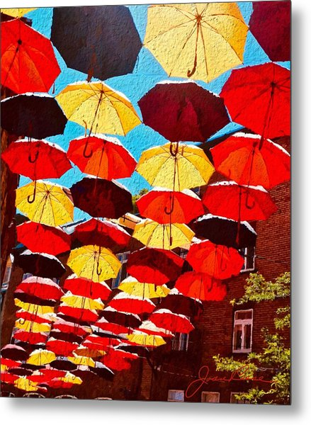 Metal Print featuring the painting Raining Umbrellas by Joan Reese