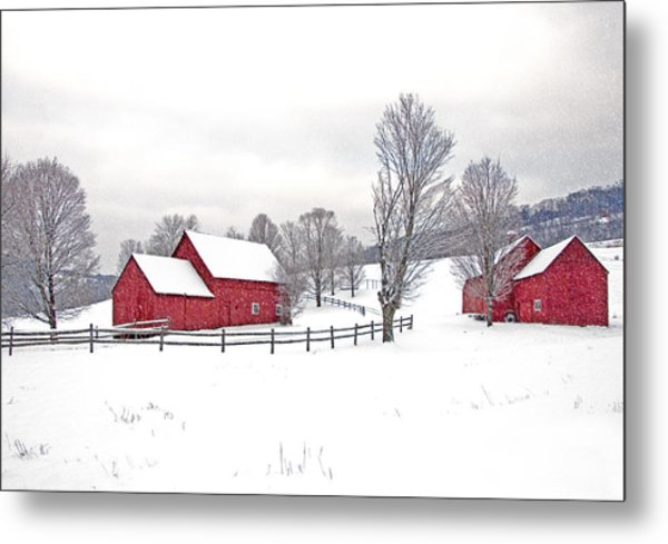Quechee Barns In Winter Metal Print