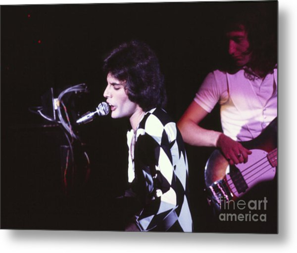 Queen 1975 Freddie Mercury Metal Print by Chris Walter