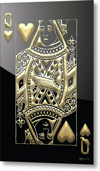 Queen Of Hearts In Gold On Black Metal Print