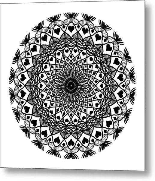 Queen Of Hearts King Of Diamonds Mandala Metal Print