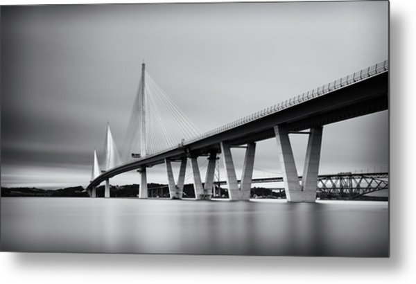 Queensferry Crossing Bridge Mono Metal Print