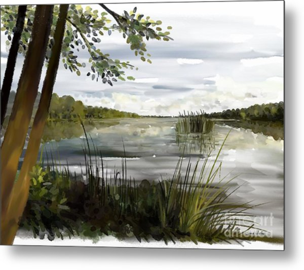 Quiet Day By Lake Metal Print