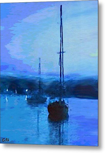 Quiet Evening Maryland Chesapeake Bay Detail Multimedia Fine Art Painting Metal Print by G Linsenmayer