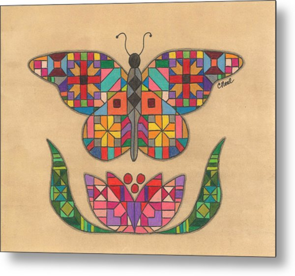 Quilted Butterfly Metal Print