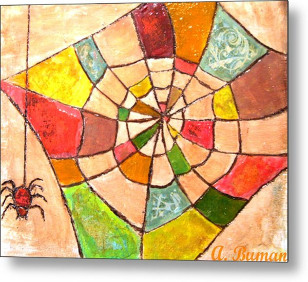 Metal Print featuring the painting Quilted Web by Angelique Bowman