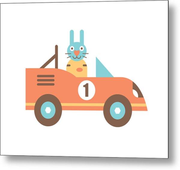 Rabbit Racer Metal Print