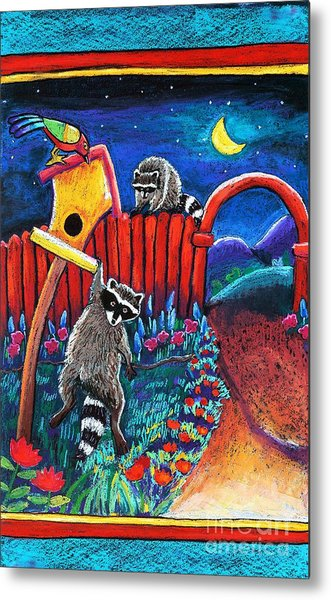 Raccoon Trouble Metal Print by Harriet Peck Taylor