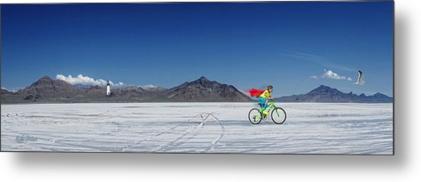 Racing On The Bonneville Salt Flats Metal Print