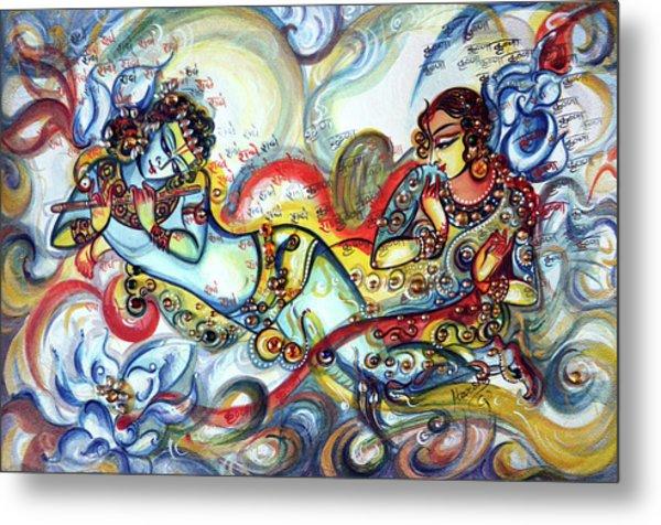 Radha Krishna - Flute - Love Metal Print