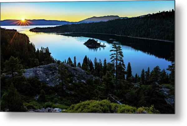 Radiant Sunrise On Emerald Bay Metal Print