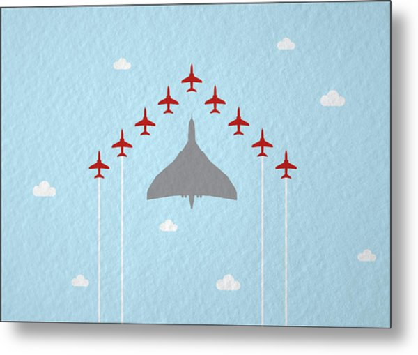 Raf Red Arrows In Formation With Vulcan Bomber Metal Print