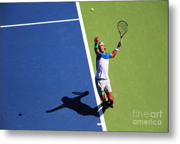 Rafeal Nadal Tennis Serve Metal Print
