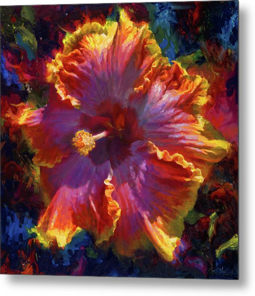 Rainbow Hibiscus Tropical Flower Wall Art Botanical Oil Painting Radiance  Metal Print