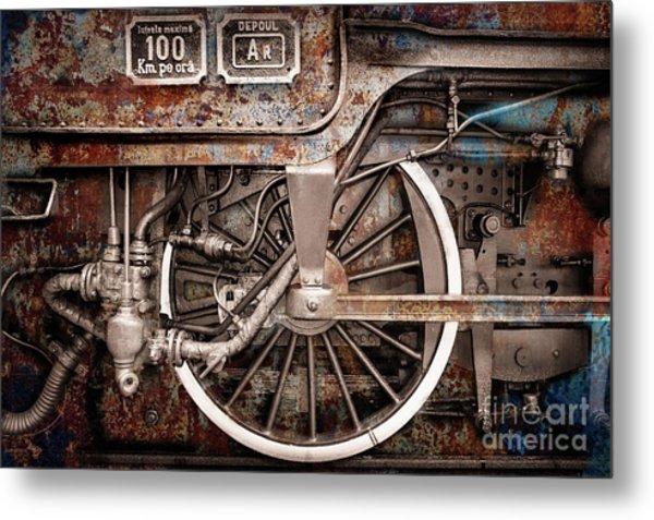 Rail Wheel Grunge Detail,  Steam Locomotive 06 Metal Print