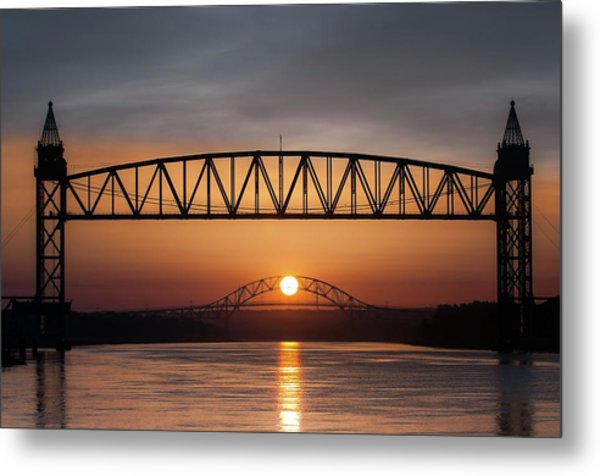 Railroad Bridge Framing The Bourne Bridge During A Sunrise Metal Print