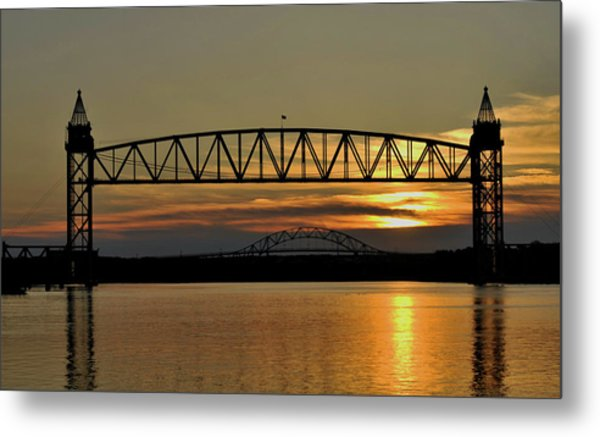 Railroad Bridge Over The Canal Metal Print