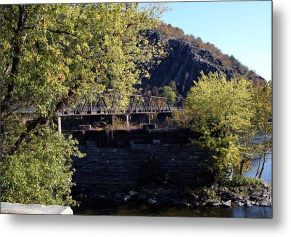 Railroad Bridge Over The Potomac Metal Print by Rebecca Smith