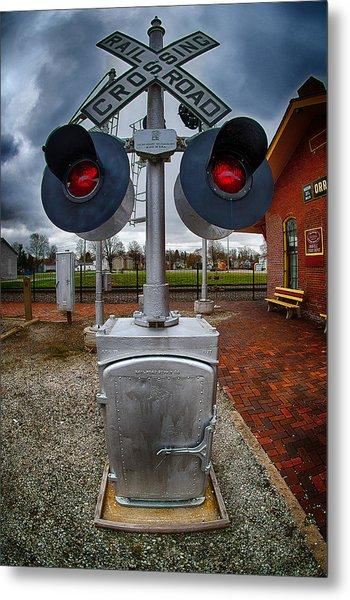 Railroad Crossing Signal Metal Print