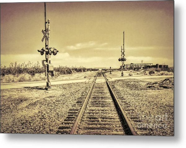 Railroad Crossing Textured Metal Print