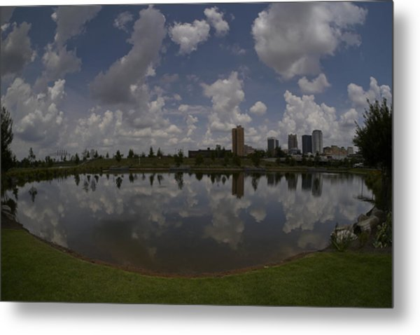Railroad Park Reflection Metal Print