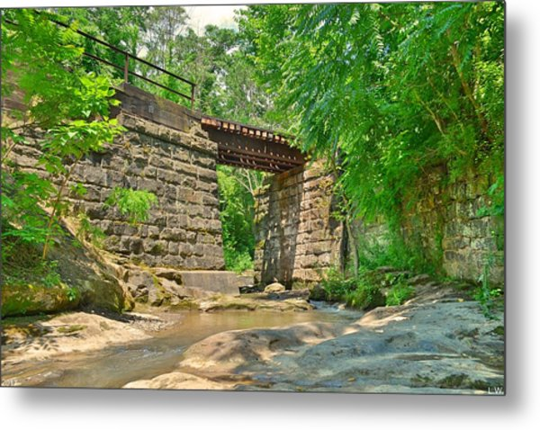 Metal Print featuring the photograph Railroad Tracks At Buttermilk/homewood Falls by Lisa Wooten