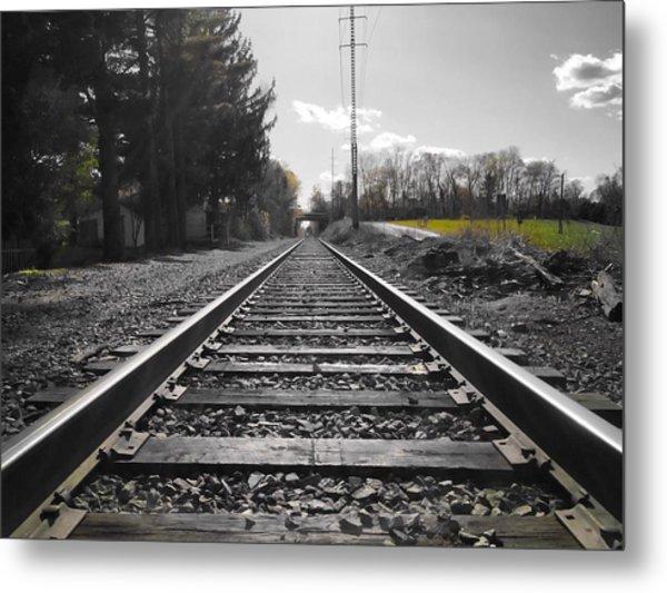 Railroad Tracks Bw Metal Print