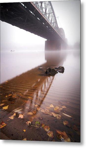 Railway Bridge During Foggy Morning In Prague, Czech Republic Metal Print