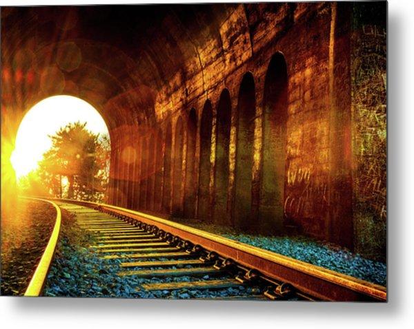 Railway Track Sunrise Metal Print