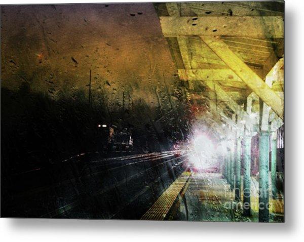 Rain And Rail Metal Print