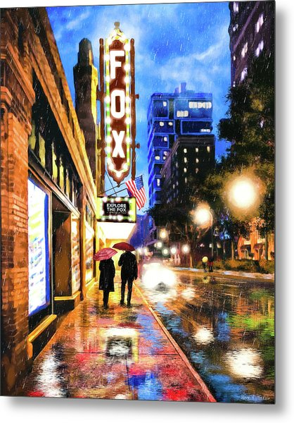 Rain Falling On Peachtree Street - Atlanta Metal Print