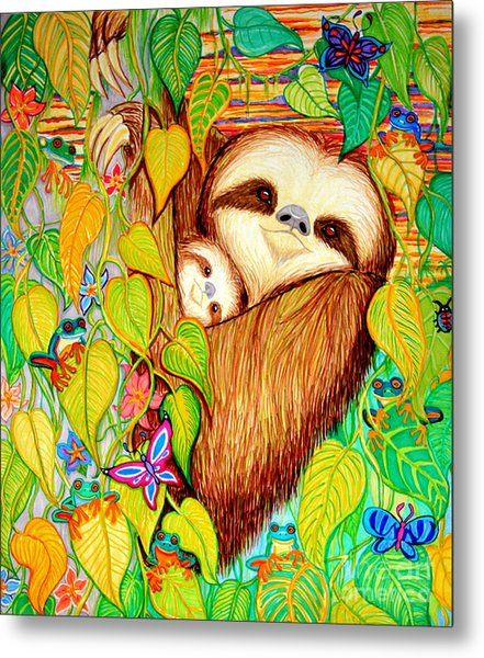 Rain Forest Survival Mother And Baby Three Toed Sloth Metal Print