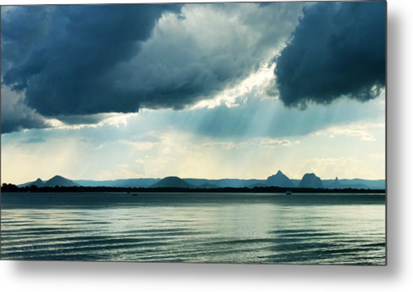 Rain On The Glass Mountains Metal Print