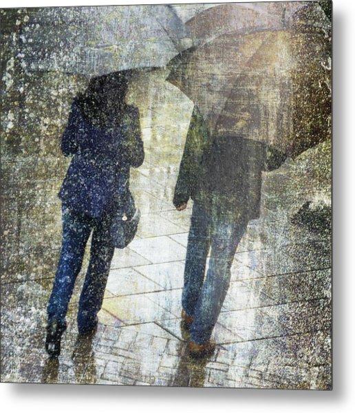 Rain Through The Fountain Metal Print
