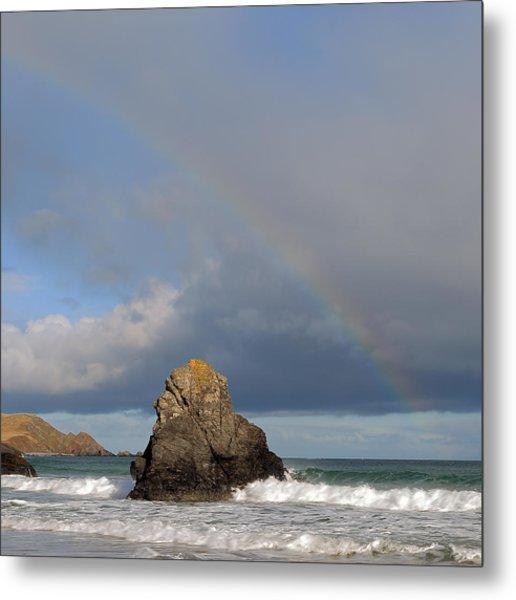 Rainbow Above Sango Bay Sea Stack Metal Print by Maria Gaellman