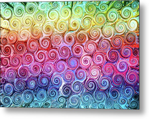 Rainbow Abstract Swirls Metal Print