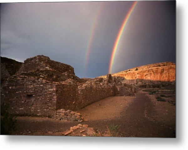 Rainbow At Chetro Kettle Metal Print