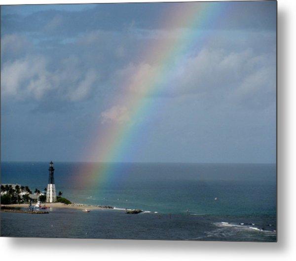 Rainbow At Lighthouse Metal Print
