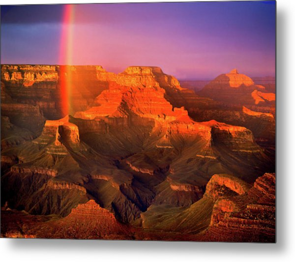 Rainbow At The Grand Canyon Metal Print