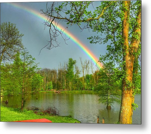 Rainbow At The Lake Metal Print