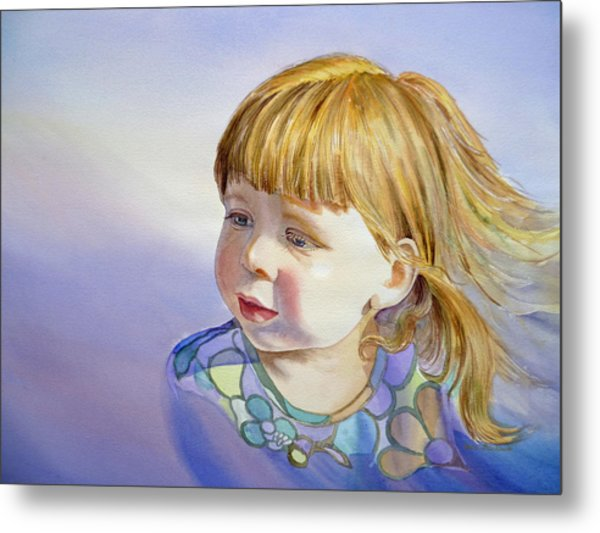 Rainbow Breeze Girl Portrait Metal Print