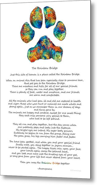Rainbow Bridge Poem With Colorful Paw Print By Sharon Cummings Metal Print